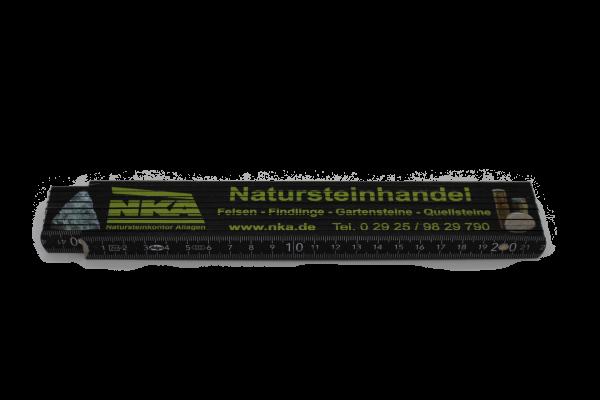 Holz Zollstock schwarz mit Aufdruck